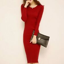 Women Autumn Winter Fashion O-neck Long Sleeve Slim Hip Fine-knit Dress