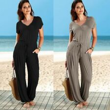 Women Wide Leg Fashion Solid Color V Neck Elastic Waist Casual Loose Jumpsuit