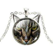 Cat Green Eyes Blue Eyes Jewelry Glass Dome Pendant Necklace New