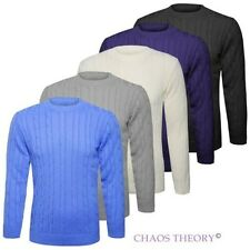 Mens Plain Chunky Cable Knitted Jumper Crew Neck Top Knitwear Sweater