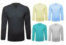UK New Mens Knitted Jumper Chunky Cable V Neck Top Knitwear Sweater Long Sleeve