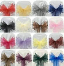 100pcs & 50pcs Organza Chair Cover Sashes Fuller Bow Party Wedding Decoration