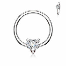 1 PC Multi Directional CZ Heart Surgical Steel Captive Bead Ring Nipple Ring