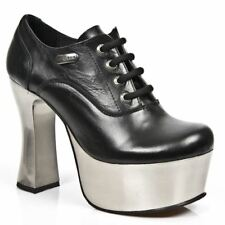 New Rock Womens M.DK004-C11 Black Cow Leather Shoes - Punk,Goth,Shoes - [SO]