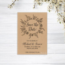 SAVE THE DATE CARDS PERSONALISED INVITATIONS MAGNETS WEDDING RECYCLED BROWN