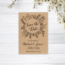 SAVE THE DATE CARDS PERSONALISED INVITATIONS MAGNETS WEDDING CARD RECYCLED BROWN