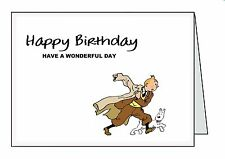 TINTIN Personalised A6 or A5 Cards Birthday Greeting Thank You Welcome G44