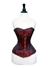 Red Brocade Real Steel Bones Lace up Back Front Busk Full Bust Corset 2XS~7XL