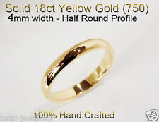 18ct 750 Solid Yellow Gold Ring Wedding Friendship Friend Half Round Band 4mm