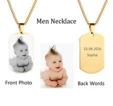 Personalized Stainless Steel custom picture Men's Dad's Necklace Engraved Names