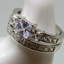 Sterling Silver Princess Cut 3 Stone Engagement Wedding Ring Set