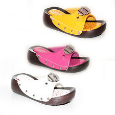 KIDS GIRLS SUMMER SLIP ON MULES CLOGS WEDGE HEELS SANDALS SHOES SIZE 11-4