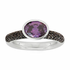 Giorgio Martello Sterling Silver Ring W/ Pave Amethyst CZ And Amethyst CZ Stone