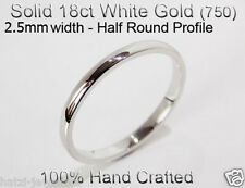 18ct 750 Solid White Gold Ring Wedding Engage Friendship Half Round Band 2.5mm