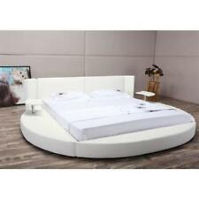 Round White Faux Leather Platform Bed with LED Headboard and Nightstands