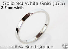 9ct 375 Solid White Gold Ring Wedding Engagement Friendship Flat Band 2.5mm