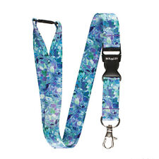 Multicolour BLUE/GREEN CRYSTALS Lanyard Neck Strap With Card Holder/KeyRing