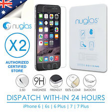 2x Genuine NUGLAS Tempered Glass Screen Protector for iPhone 8 X 7 6 6s Plus