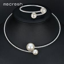 Mecresh Simple Simulated Pearl Bridal Jewelry Sets Crystal Necklace Bracelet Set