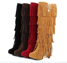 Fashion Winter Women High Heels The Knee High Fringe Tassels Long Boots
