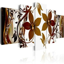 5 panels Brown Flower Canvas Print Abstract Wall Art Picture Artwork Framed