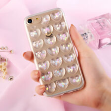 For iPhone X 7 8 6 6S Plus Fashion 3D Love Hearts Phone Case Back Cover Shell