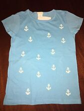NWT 4/5 or  6/7 Crewcuts Preppy Turquoise Tee w/ Nautical White Sequin Anchors