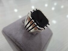 Handcraft 925 Sterling Silver Turkish Jewelry Onyx Men's Ring All Size.