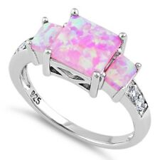 Pink Lab Opal Square & Clear CZ Ring, Real Sterling Silver 925 Stamped/Rhodium