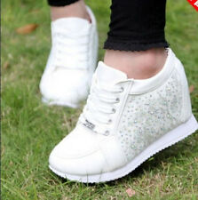 2018 Womens Hidden Wedge Lace Up Fashion Sneaker Rhinestone College Casual Shoes