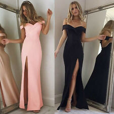 Women's Bodycon Cocktail Evening Party Dress Thin Long Club Dress Off Shoulder
