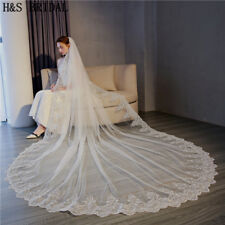 One Layer Bridal Veil Lace Edge Ivory White Cathedral Wedding Accessories Cotton