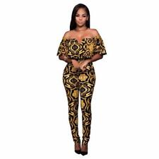 African  Skinny Jumpsuits High Waisted Tunic Full Length Overalls Rompers