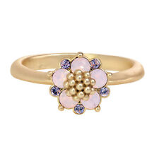 14K Gold Plated Opal and Lavender Flower Ring, Made with Swarovski Crystals