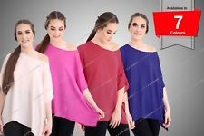 Womens Ladies Plain Chiffon Kimono Top Off Shoulder Baggy Flare Summer Top 8-26