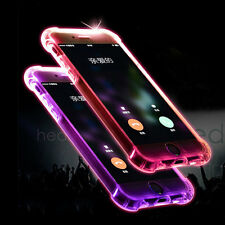 LED Flash Light Up Slim Hard Clear Back Phone Case Cover For iPhone 6 6S 7 Plus