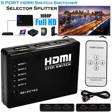 5 Port HDMI Splitter Switch Selector Switcher Hub IR Remote 1080p For HDTV PS3 U