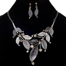 Women Gold Plated Crystal Enamel Flower Pendant Necklace Earrings Jewelry Set BK