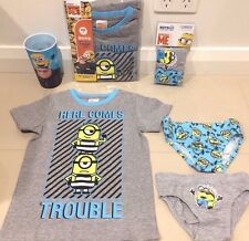 NEW DESPICABLE ME 3 Minions Licensed Tee top & 2 X UNDIES & CUP sz 3 7 FREE POST
