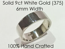 9ct 375 Solid White Gold Ring Wedding Engagement Friendship Flat Band 6mm