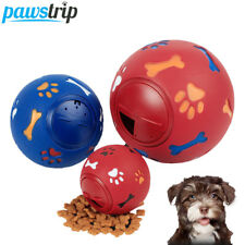 Interactive Pet Dog Rubber Ball Puppy Chew Toys Paw Bone Print Treats Dispenser