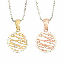 14K Gold, Rose Gold, or Rhodium Plated Silver Two Tone Round Pendant Necklace