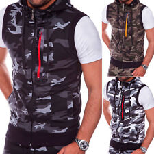 Mens Casual Camo Hooded Vest Slim Camouflage Sleeveless Tops Outdoor Vest Jacket
