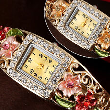 Womens Flower Square Dial Rhinestone Bracelet Quartz Casual Wrist Watch Reliable