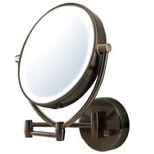 """Led Lighted Makeup Mirror 10x Magnify Wall Mount Swivel 9.5"""" Antique Bathroom"""