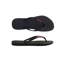 Womens  Havaianas Slim Rubber Logo Black Neon Pink Sandals