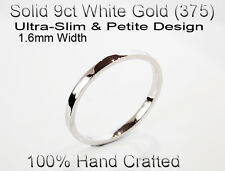 9ct 375 Solid White Gold Ring Wedding Friendship Friend Flat Band 1.6mm