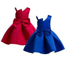 Girls Princess Dress Large Bowknot Off-Shoulder Wedding Dress Blue/Red