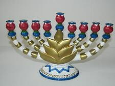 Menorah Hanukkah Ceramic Hand Painted Hannuka Candle Holder Gold Festival Lights