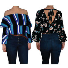 Womens Ladies Stripe Floral Off The shoulder Tie Back Ruffle Sleeve Blouse Top